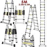 Kaimus 5M Alu Mehrzweckleiter Teleskopleiter Anlegeleiter Ausziehbare Leiter Leicht Aluleiter Klappleiter Stehleiter Anlegeleiter 150 KG Belastbarkeit mit erweiterter Grundlage Aluleiter