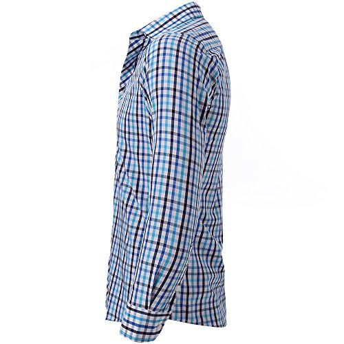 Harrms Camicia a Quadri da Uomo, Slim Fit, Adatta a Occasioni Formali/Casuali, Multicolore Grigio & Blu