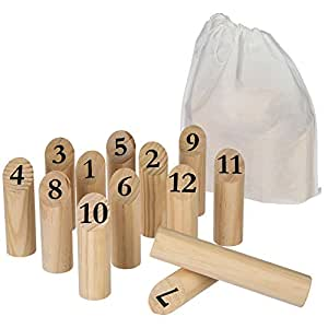 Jeu de quilles en bois jeux et jouets for Jeu exterieur bois