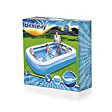 Bestway BW54006 Rectangular Inflatable Family Paddling Pool, Blue, 103 Inch
