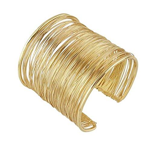Schwarze Haufen Metall (MeiPing Starre Stahl Speicher Draht Metall Kreis Split Ring Coil Draht Dünne Schmuck Gehämmert Haufen Manschette Armband Armreif)