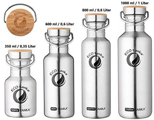 ECOtanka | 350ml / 600ml / 800ml / 1000 ml | Edelstahl-Bambus-Verschluss | Edelstahl-Trinkflasche Wasserflasche Outdoor Trekking Camping Fahrrad Sport-Flasche Stahl-Kanne Behälter Gefäß | BPA frei | 100 % dicht & auslaufsicher | keine Innenbeschichtung | kein Aluminium | Getränke für jeden Anlass | umweltfreundlich, nachhaltig, ökologisch | 0,35l 0,6l 0,8l 1l