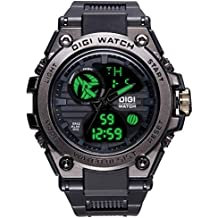 Relojes Hombres Negro Reloj Deportivo Impermeable Multifunción para Hombre Cronógrafo Alarma Día Fecha Calendario LED Tendencia