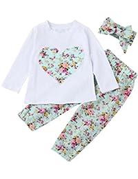 Ropa Bebe Niña Invierno Otoño de 0 a 24 meses SMARTLADY Bebé Niñas Camisetas de manga larga y Pantalones de flores + Vendas de pelo Conjunto de ropa