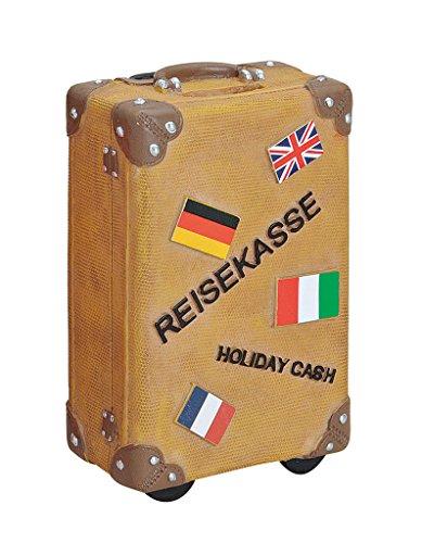 levandeo Spardose Sparbüchse Sparkoffer Koffer in braun - Sparschwein Urlaubskasse Urlaub Reiseziele Reisen Sparen Holiday