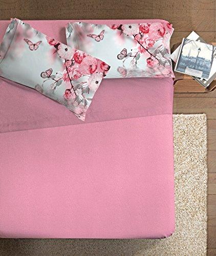 Ipersan Mariposa Completo Fotografico Fine Art, 100% Cotone, Grigio/Federe Ciliegia, Matrimoniale, 260x300x1 cm