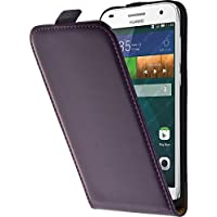 PhoneNatic Kunst-Lederhülle für Huawei Ascend G7 Flip-Case lila + 2 Schutzfolien