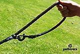 4-fach verstellbare Hundeleine | 2,80m lang | Doppelleine / Laufleine / Langlaufleine | geflochten | schwarz | Nylon | Leder-verstärkte Nähte | eingenähte Reflektoren | PETLOVERZ - 4