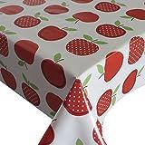 Wachstuch Breite & Länge wählbar - Apfel Erdbeer Rot Weiss Lebensmittelecht - Größe ECKIG 80 x 80 bzw. 80x80 cm abwaschbare Tischdecke Gartentischdecke