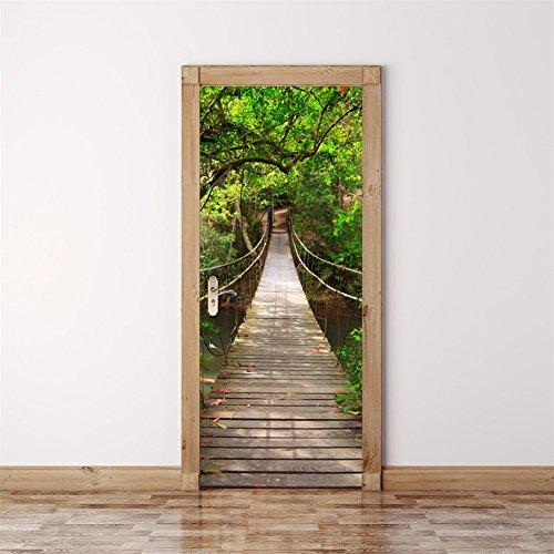 decoration-demulation-3d-bois-pont-levis-creatif-autocollant-de-porte-les-portes-de-chambre-de-poste