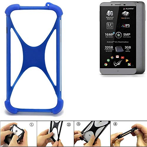 K-S-Trade Handyhülle für Allview V2 Viper S Silikon Schutz Hülle Cover Case Bumper Silikoncase TPU Softcase Schutzhülle Smartphone Stoßschutz, blau (1x)