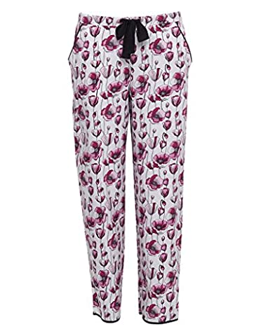 Cyberjammies 3227 Women's Stephanie Black and Pink Poppy Print Cotton and Modal Pajama Sleepwear PJs Pyjama Bottoms 40