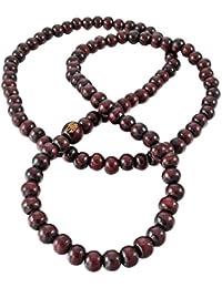 Budismo Madera Brazalete - SODIAL(R)6mm Madera Pulsera Brazalete Collar Tibetano Budista Sandalo 108 pcs Bead Oracion Budismo Hombre,Mujer Rojo