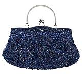 Wgwioo Bag womens sac de soirée perlé paillettes satin dîner dînette sacs. 30 x 26 cm dark blue one size