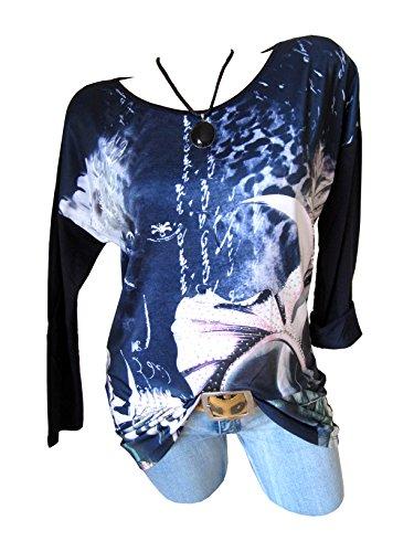 Vintage Long Shirt Tunika Glitzer Steine Print Blume Lilie Dunkel Blau