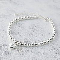 Silver Color Beads Bracelet (6 mm) For Women/Girls