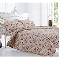 Velosso Home Bedding Store Soft Flannelette 100% Brushed Thermal Cotton King Size Bed Duvet/Quilt Cover Bedding Set Floral Peony