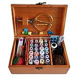 DDXTJ.DMM - Cesta de coser de madera con accesorios de costura, caja de costura