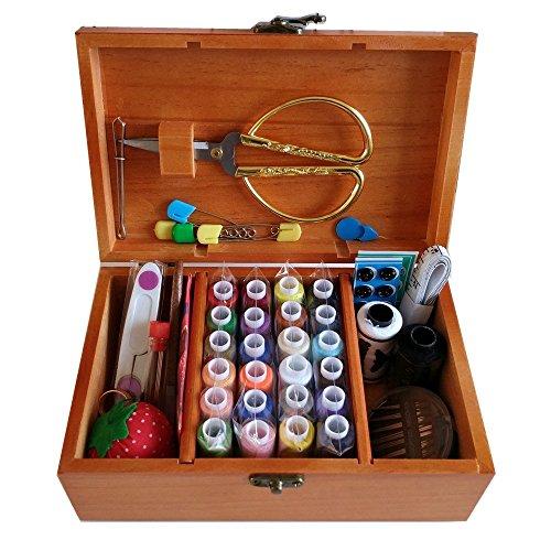 Ddxtj. DMM Panier à couture en bois avec kit de couture Boîte à couture Accessoires,