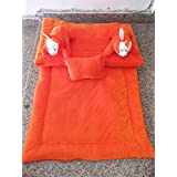 Balaji's Store Baby Bedding Set For New Born Babies Soft And Gentle Bed Set For Baby Rabbit Shaped Orange Color (0-2 Years)