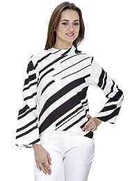 SVT ADA COLLECTIONS Poly Crepe White n Black Printed Designer TOP (024502_Black_Medium)