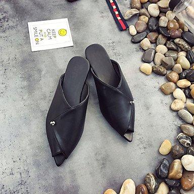 Sandali Primavera Estate Autunno Comfort PU Abbigliamento Sportivo tacco piatto nero caffè Black