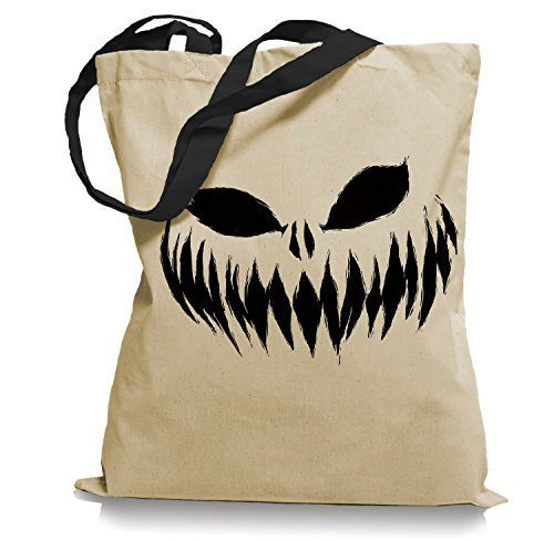 Ma2ca® Halloween Pumpkin Smiley black Tragetasche / Bag / Jutebeutel WM Farbiger Henkel-black