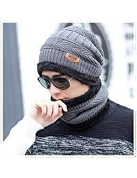 348292e9a71 Alexvyan Grey and Black 1 Set Woolen Beanie Cap and Neck Scarf for Men Women  Warm