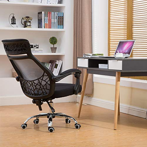 Lkoezi Bürostuhl, Bürostuhl, Bürostuhl, ergonomisch, verstellbar, Netzstoff, atmungsaktiv, Drehstuhl B schwarz