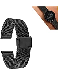 GOOQ Metal Stainless Steel 22mm Mesh Watch Band for Moto 360 2nd Gen 46mm,LG G Watch W100,Urbane W150,R W110, Samsung Gear 2 R380,Neo,Live,Pebble Time Steel,Classic,Asus Zenwatch W1500Q, 2nd W1501Q Watches and Any 22mm Normal Watches (Black)