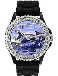 Delfín Reloj de silicona para mujer con piedrecillas