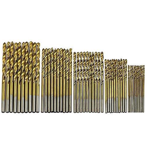 Pawaca Titanium Coated Pilot Point High Speed Steel Shank Twist Drill Bit Set for Wood, Plastic, Aluminum Copper Steel, 50-Piece of 1, 1.5, 2, 2.5, 3