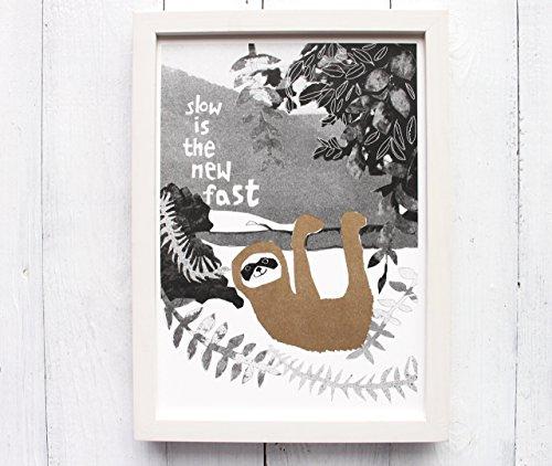 Faultier Kunstdruck Risographie slow Druck Poster Gemütlichkeit Langsamkeit gold Kinderzimmer
