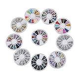 Biutee 10 pcs Caja de Acrílico de los Diamantes Brillantes para Uñas Decoración de Arte de Uñas, Varias Colors