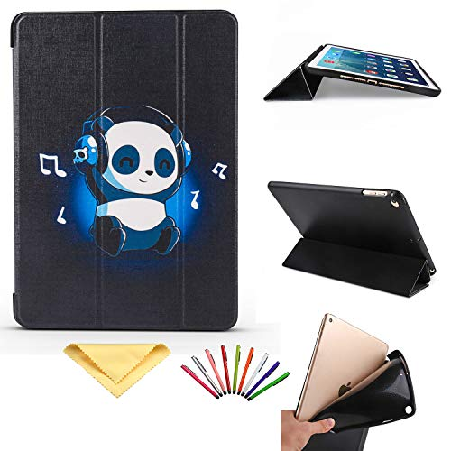 iPad 9.7 2018 2017/iPad Air 2/iPad Air, Uliking Smart Multi Angle Folio Stand PU Leder TPU Hülle mit Karten/Stifthalter [Auto Wake/Sleep] für Apple iPad 6. / 5. Gen, iPad Air 1/2 blau 02# Music Panda