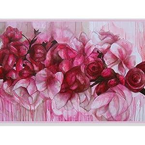 Blumen Karte, Karte Kirschblüten, Geburtstagskarte Blumen, Glückwunschkarte Rosen, Kirschblüten, Grußkarte pink,