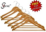 #10: Premium Quality Wooden Hangers - 6 Pack with free stainless steel egg mould inside gift..