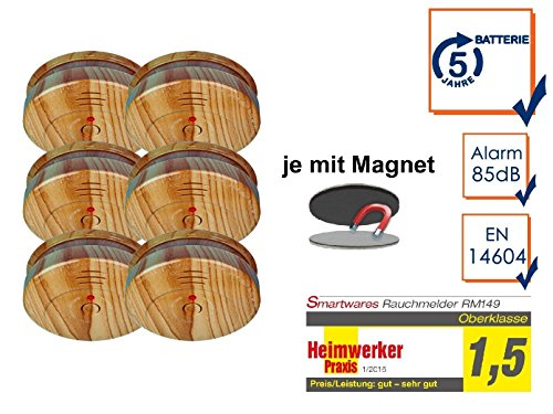 6er SET Rauchmelder in Holzoptik mit 5 Jahres Batterie & EASY Magnetbefestigung
