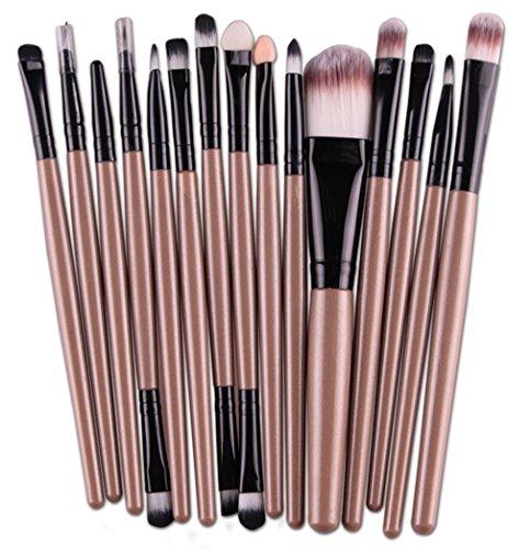 Bigood 15PCS Pinceaux de Maquillage Professionnels Pinceau Outils pour Visage Sourcil