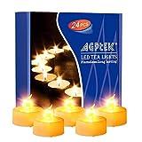 AGPTEK 24 Warmes Gelb Flackernde Flammenlose LED Teelicht Kerzen mit Timer-Funktion (Auto 6 Stunden On und 18 Stunde Off nach Turing auf) für Hochzeit/Party Dekorationen,Batteriebetriebene Kerzen