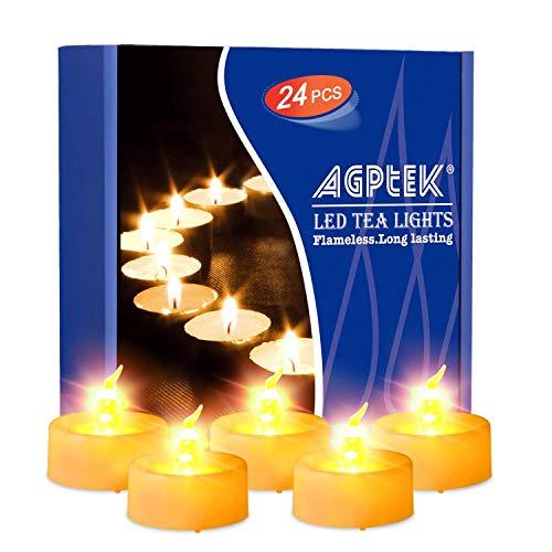 Agptek candele led lumini led 24 pz, timer tremolante candele senza fiamma led luce gialla calda,per decorazione di casa camera natale partito halloween matrimoni compleanno