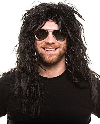 Rocker Pop Perücke lockig schwarz Herrenperücke Lang Heavy Metal Alice Cooper Rambo Metaler (Heavy Kostüm Metal)