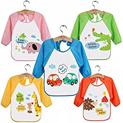 HaimoBurg Pack de 5 Baberos Impermeable PEVA de Manga Larga Para Bebé Niños Niñas 0 a 3 años