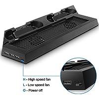 PS4 Console Stand Caricabatterie per Regolatori, FineGood Ventole di Raffreddamento Verticali Stand con Ventole Doppi, Dualshock Controllore Dock di Ricarica 2 HUB + 1 USB per PlayStation 4
