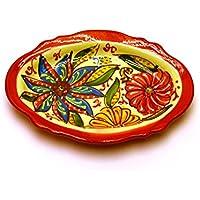 VASSOIO OVALE in ceramica fatto e dipinto a mano con decorazione flor 18,5 cm x 14 cm 18,5 cm x 14 cm (ROJO)