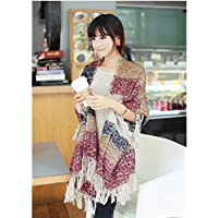 CC * CD Fashion manta cómodo caliente gran tamaño bufanda Wrap chal Plaid Cozy para las mujeres Lady (rojo)