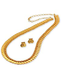 Spargz Laxmi Coin Designer Gold Plated Brass Metal Long Necklace Set For Women