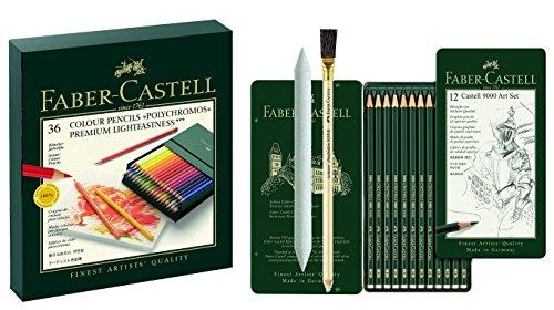 Art Set Faber-Castell 110038 - Farbstift POLYCHROMOS, 36er Atelierbox mit Faber-Castell 119065 - Bleistift CASTELL 9000, 12er, Inhalt 8B - 2H mit Estompe und Radierstift