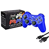 Kabi Bluetooth Wireless Controller for PS3 Controller Double Shock Gamepad 6-Axis Game Controller for Playstation 3 Bonus Free Charging Cable(2017 New) Blue