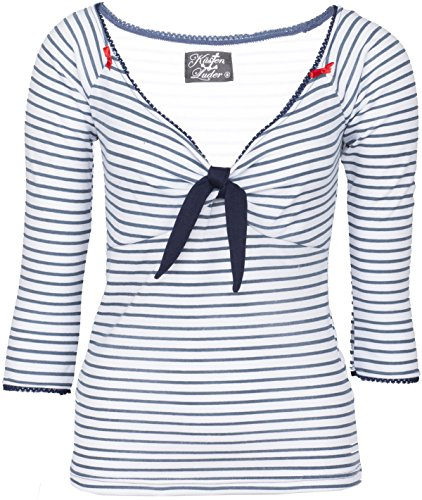 Küstenluder KIZZY V-Neck Sailor Striped Nautical Pin Up Oberteil SHIRT Rockabil